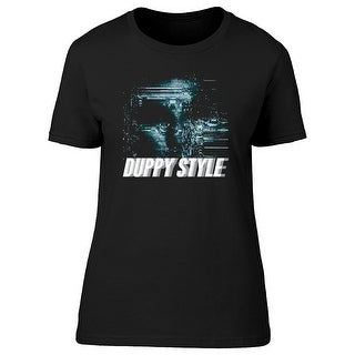 Duppy Style, Scary Ghost Glitch Graphic Women's Gold T-shirt