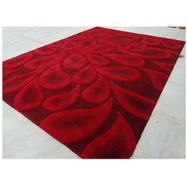 9.6x13.6 Feet Red Black Huge Over sized Paisley Wool Carpet Rug Modern Contemporary