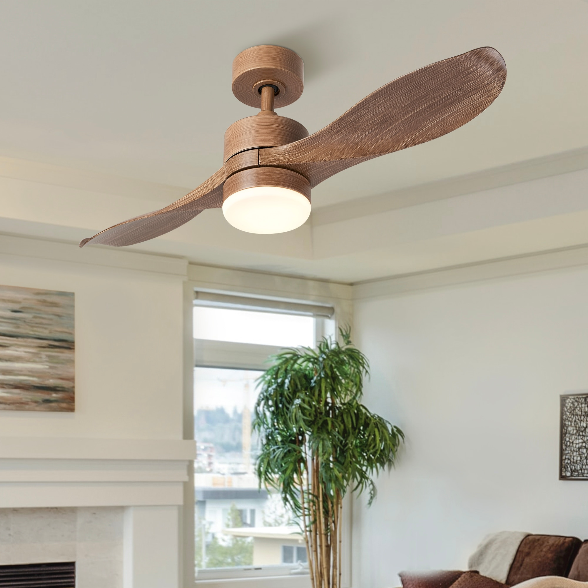 Co Z 42 2 Blade Reversible Led Ceiling Fan W Light Kit Remote Control Timer Overstock 31623938