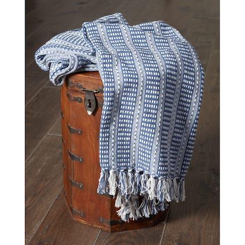 "LR Home Flynn Woven Cotton Blue Throw Blanket ( 50"" x 60"" )"