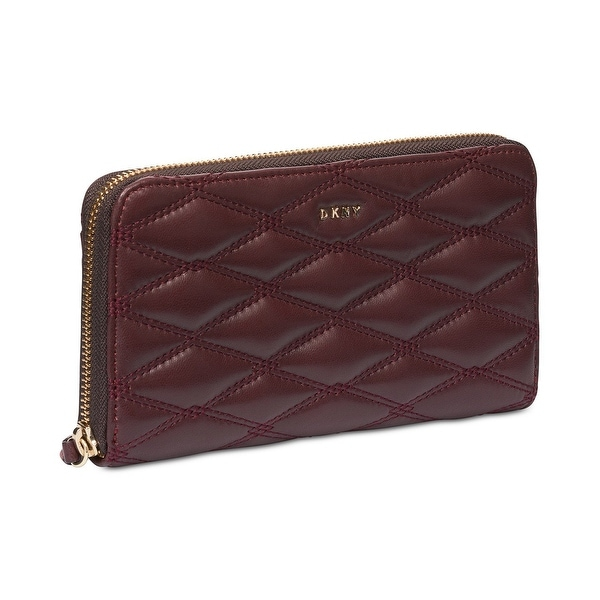 DKNY Cordovan Red Lara Quilted Smooth Leather Zip Around Wallet