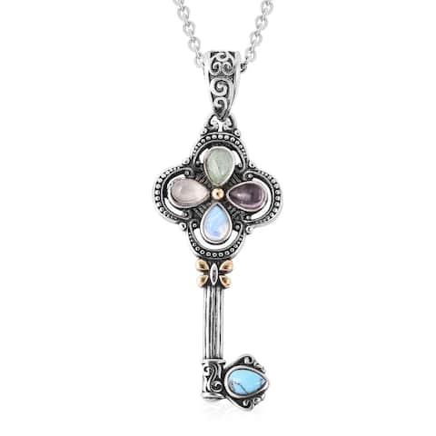 Amethyst Rose Quartz Aventurine Key Chain Necklace Pendant 20 inch - Over 16