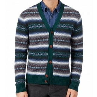 Tommy Hilfiger NEW Green Mens Large L Printed Button Cardigan Sweater
