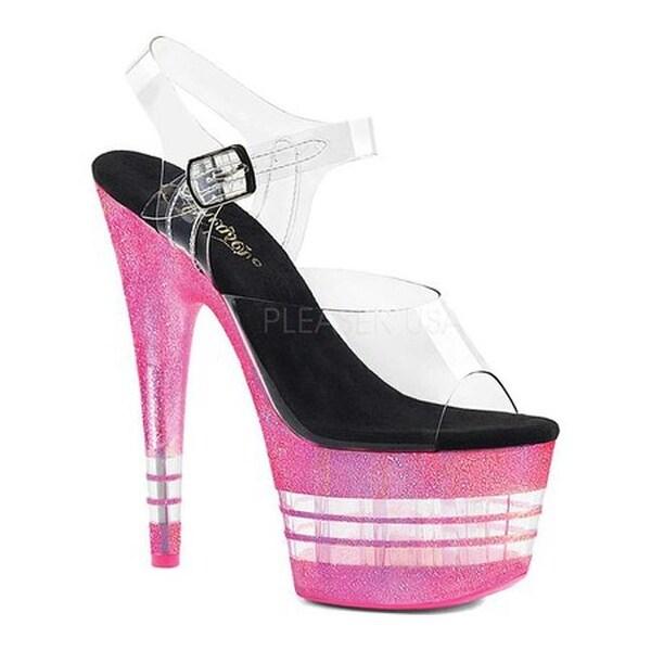 5887cc68d17 Bershka Clear Glitter Jelly Sandal Pink Source · Shop Pleaser Women s Adore  708UVJGLN Platform Sandal Clear Neon Hot