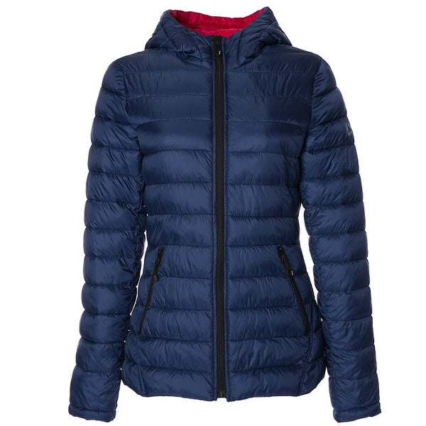 HFX Womens Lightweight Packable Jacket, Marine Navy Red S. Opens flyout.