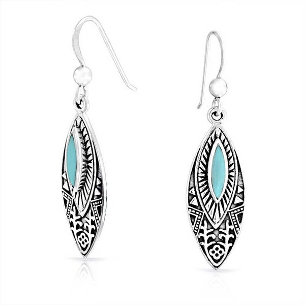 8cbb4caa3 Shop Boho Native American Style Compressed Turquoise Feather Shaped Dangle  Earrings For Women Oxidized 925 Sterling Silver - On Sale - Free Shipping  On ...