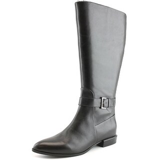 Nine West Diablo Wide Calf Women Round Toe Leather Black Mid Calf Boot