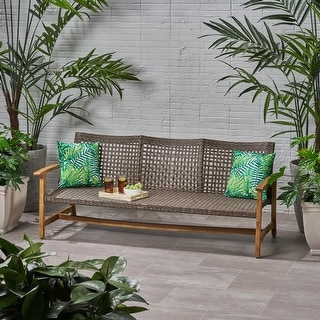 Link to Hampton Outdoor Wood and Wicker Sofa by Christopher Knight Home Similar Items in Outdoor Sofas, Chairs & Sectionals