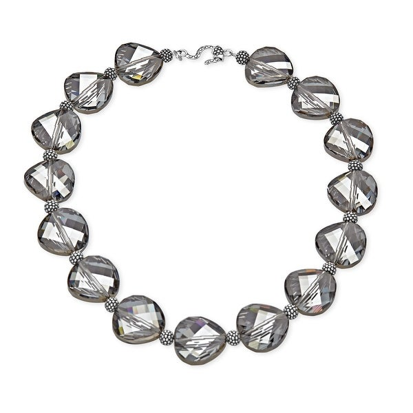 Aya Azrielant Swarovski Crystals Bead Necklace in Sterling Silver - grey