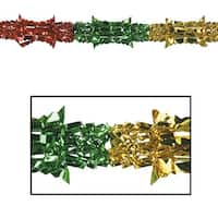 Club Pack of 12 Gold, Green and Red Christmas Garland Party Decorations 9' - Unlit