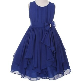 Flower Girl Dress Chiffon with Asymmetric Ruffle Royal KK 2040