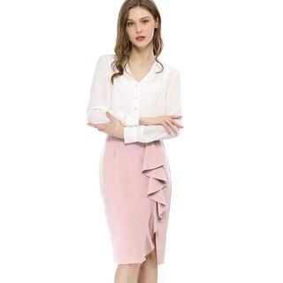 Link to Women's Slit Hem Ruffle Casual Work Office Midi Bodycon Skirt Similar Items in Skirts