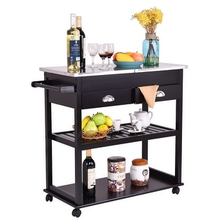 Costway Rolling Kitchen Trolley Cart Stainless Steel-Flip Top W/Drawers &Casters