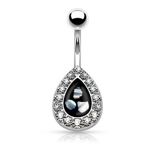 Crystal Paved Tear Drop with Mother of Pearl Inlaid Center 316L Surgical Steel Belly Button Rings