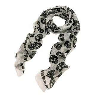 Long Soft Wrap Lady Shawl Skull Pattern Print Chiffon Long Scarf Scarves Stole - Large
