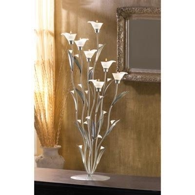 Delicate Frosted Silver Lily Blooms Candle Holder