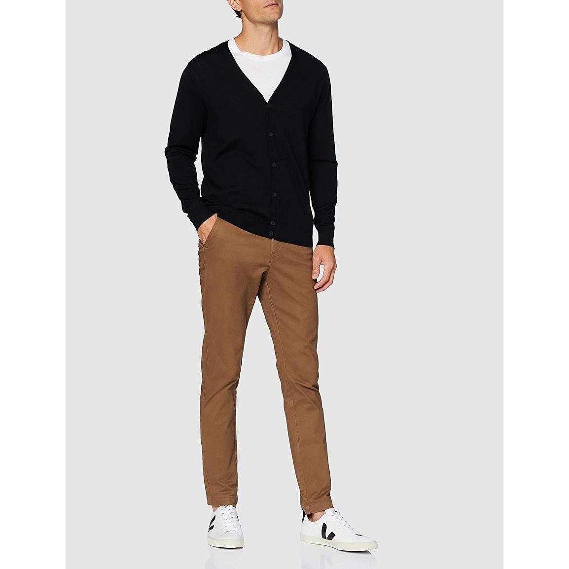 Brand V-Neck Sweater Slim Fit Merino Wool Meraki Mens  Fine Knit