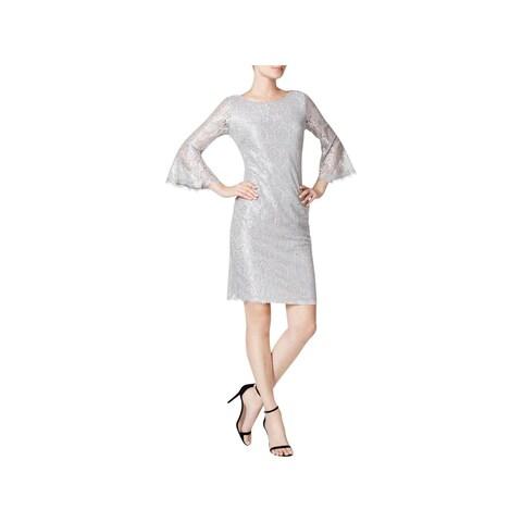 Calvin Klein Womens Party Dress Metallic Lace