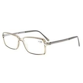 Eyekepper Classic Rectangle TR90 Frame Spring Hinges Reading Glasses Grey Frame +0.75