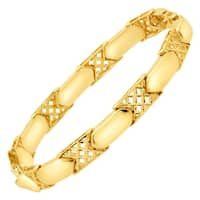 Eternity Gold Alternating Checkerboard Link Bracelet in 14K Gold - Yellow