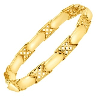 Just Gold Alternating Checkerboard Link Bracelet in 14K Gold - Yellow