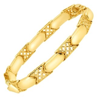 Just Gold Alternating Checkerboard Link Bracelet in 14K Gold