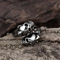 Vienna Jewelry Open Ended Abstract Skulls Stainless Steel Ring - Thumbnail 2