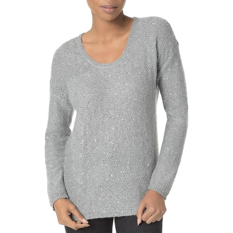 NYDJ Womens Sweater Sequined Scoop Neck