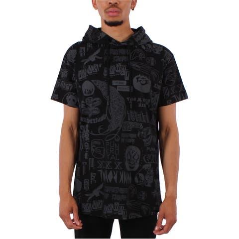 Punk Royal Mens Printed Hoodie Sweatshirt, Black, Large
