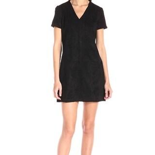 Catherine Malandrino NEW Black Faux-Suede Women 14 Lace-Up Shift Dress