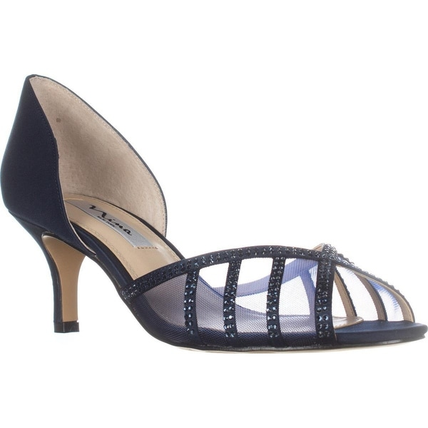 Nina Corita Peep Toe Kitten Heels, New Navy