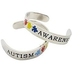 Autism Silver Cuff Bracelet