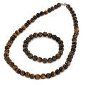 Sterling Silver Tiger's Eye Bracelet Earring and Necklace Set - Thumbnail 1