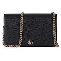 Gucci Women's Black Leather GG Marmont Mini Chain Crossbody Purse Bag