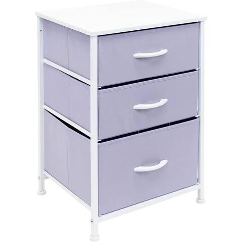 Nightstand 3-Drawer Shelf Storage - Bedside Furniture End Table Chest