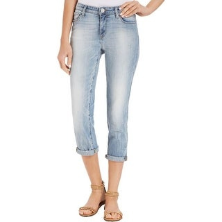 DKNY Jeans Womens Cropped Jeans Distressed Regular Fit