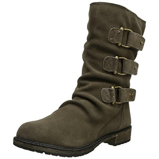 Skechers Womens Horseshoe Motorcycle Boots Suede Slouchy