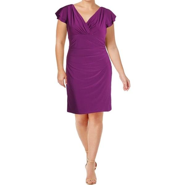 Lauren Ralph Lauren Womens Wrap Dress Cascade Butterfly Sleeves Ruched Waist