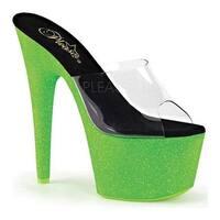 40ecf91d2e5 Pleaser Women s Adore 701UVG Platform Slide Clear PVC Neon Green Glitter