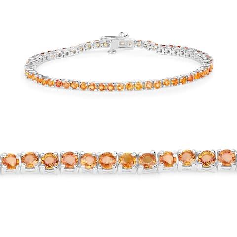 7.65 Carat Genuine Orange Sapphire .925 Sterling Silver Bracelet - 7.5 Inch