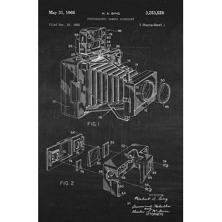 Photographic Camera on White on Chalkboard - Patents - 24x16 Matte Poster Print