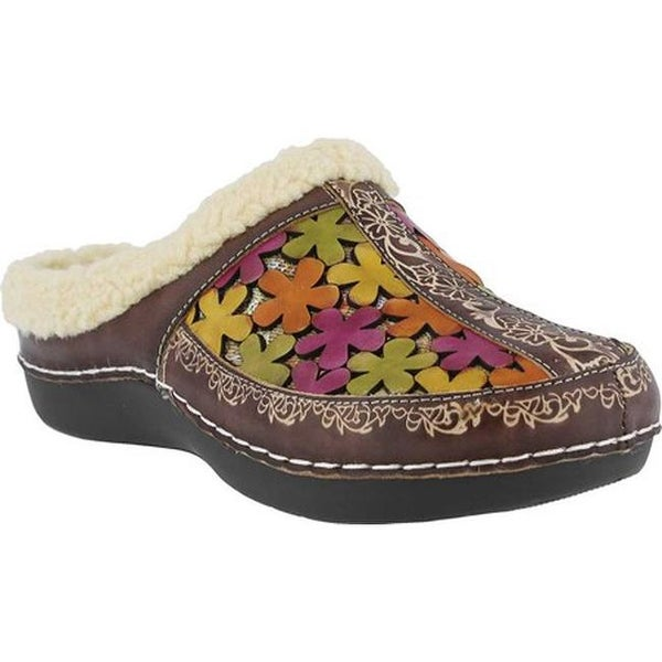L'Artiste by Spring Step Women's Woodbine Clog Brown Multi Leather