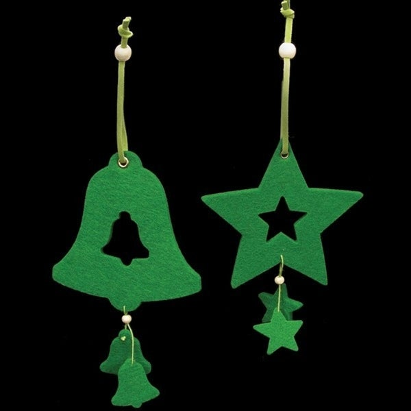 Club Pack of 18 Brilliant Green Color Bell and Star Felt Ornaments