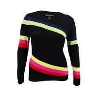 INC International Concepts Women's Striped Sweater (XL, Deep Black) - Deep Black - xL