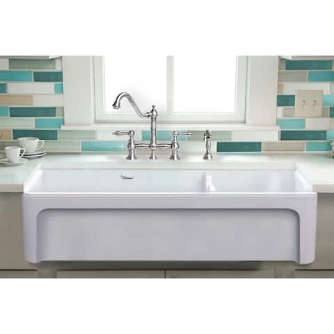 "Glencove 42"" Double Bowl Fireclay Sink"