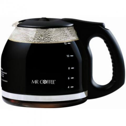 Mr. Coffee PLD12-NP Replacement Glass Carafe/Decanter, Black, 12-Cup