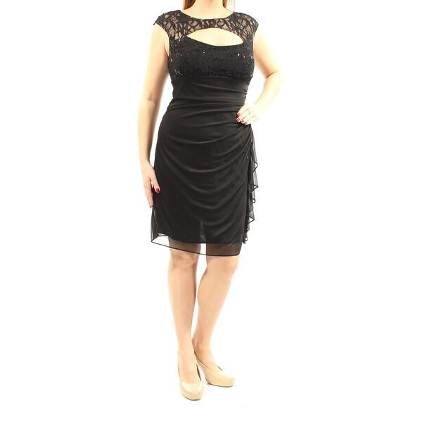 Betsy Adam 109 Womens New 1411 Black Lace Cap Sleeve Sheath Dress