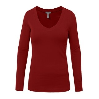 NE PEOPLE Womens Basic Long Sleeve V Neck Casual T Shirt [NEWT77]