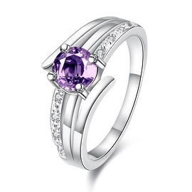 Petite Purple Citrine Trio-Spiral Lined Ring