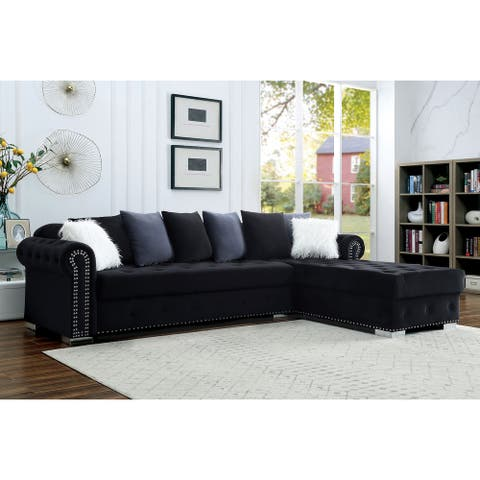 Furniture of America Blueforn Glam Button Tufted Fabric Sectional